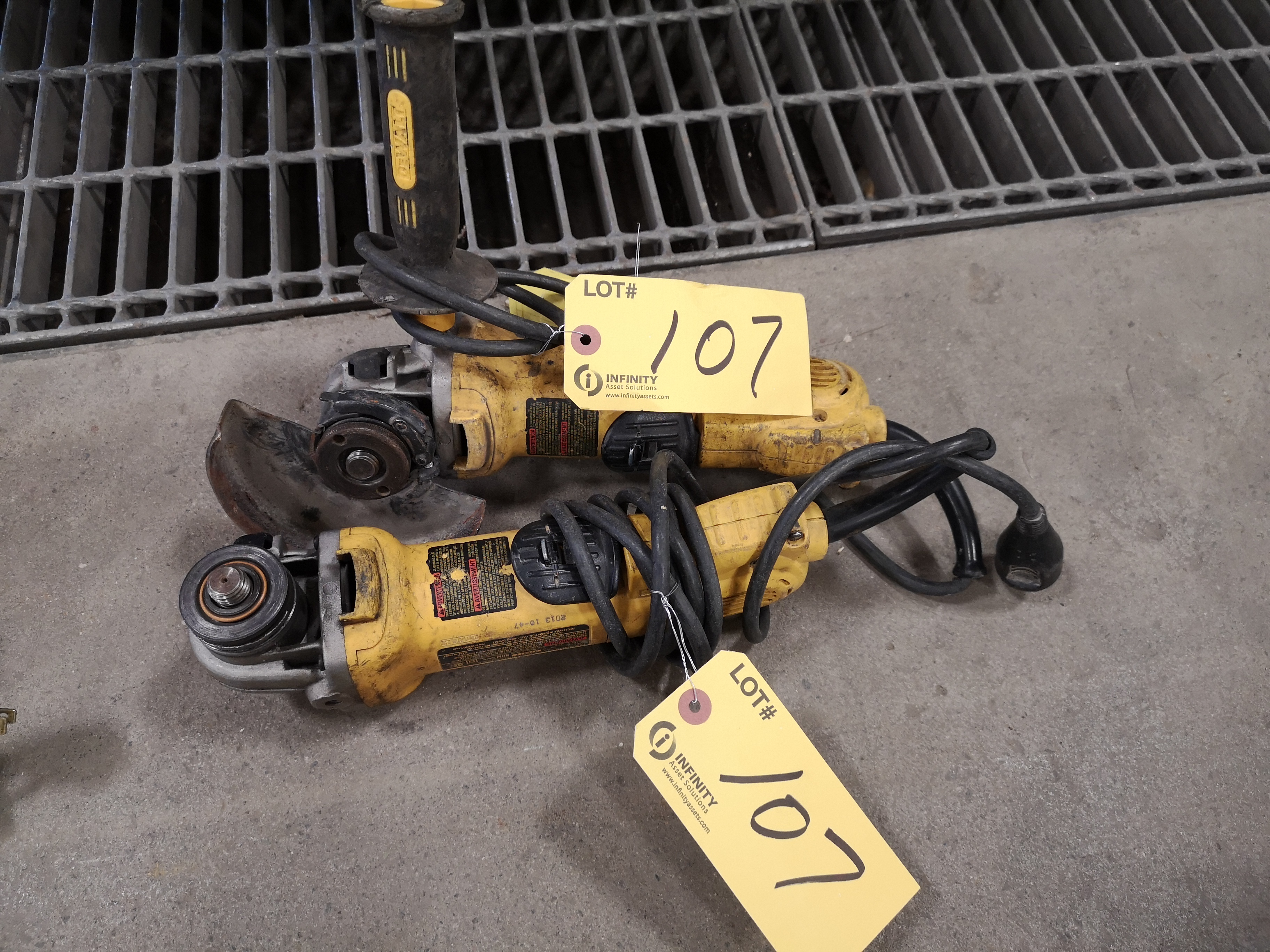 "LOT (2) DEWALT 4-1/2"" ANGLE GRINDER (LOCATED AT 1135 STELLAR DRIVE, NEWMARKET, ON)"