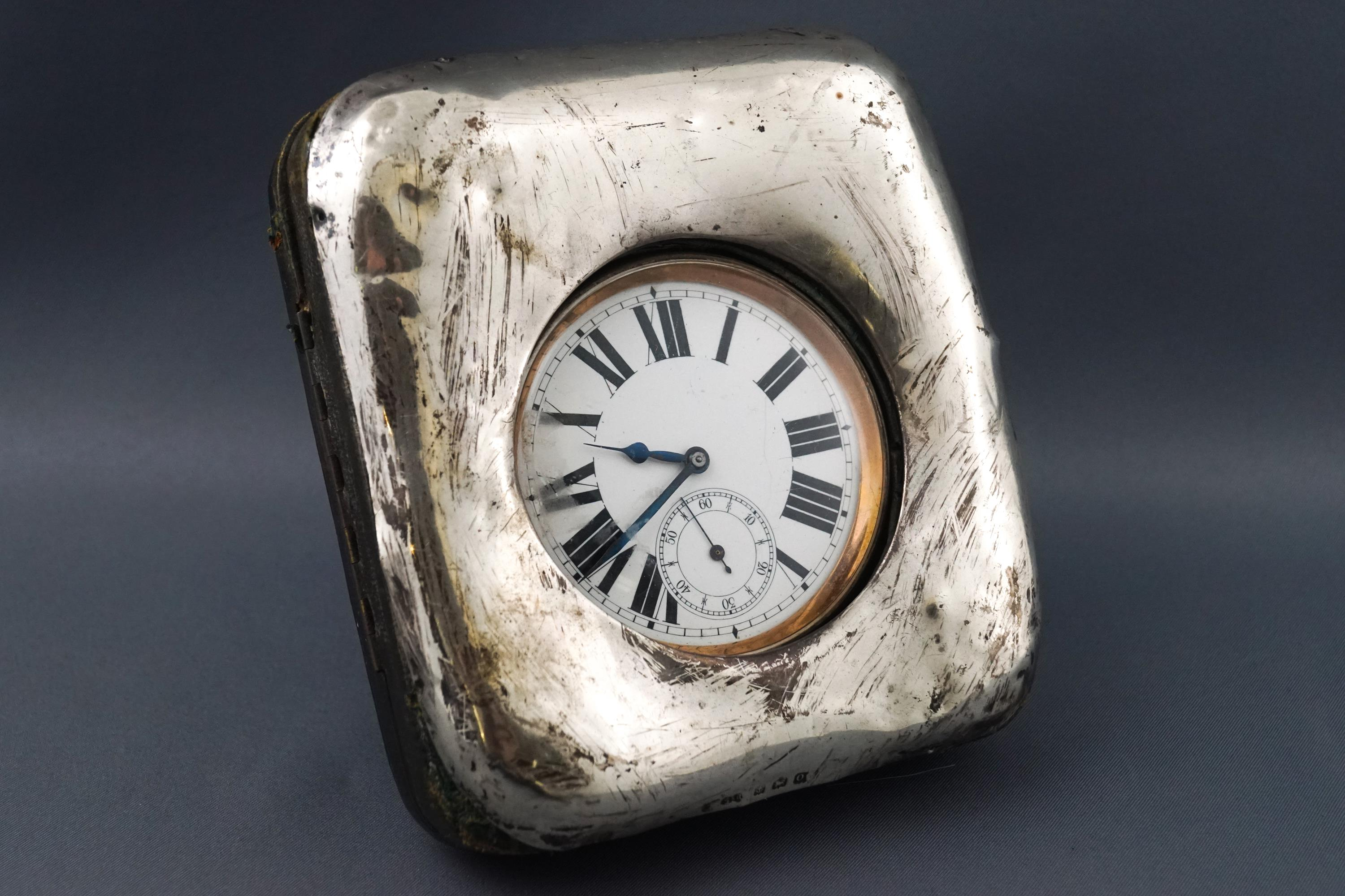 Lot 26 - A silver plated giant pocket watch in silver mounted case, Birmingham 1913,
