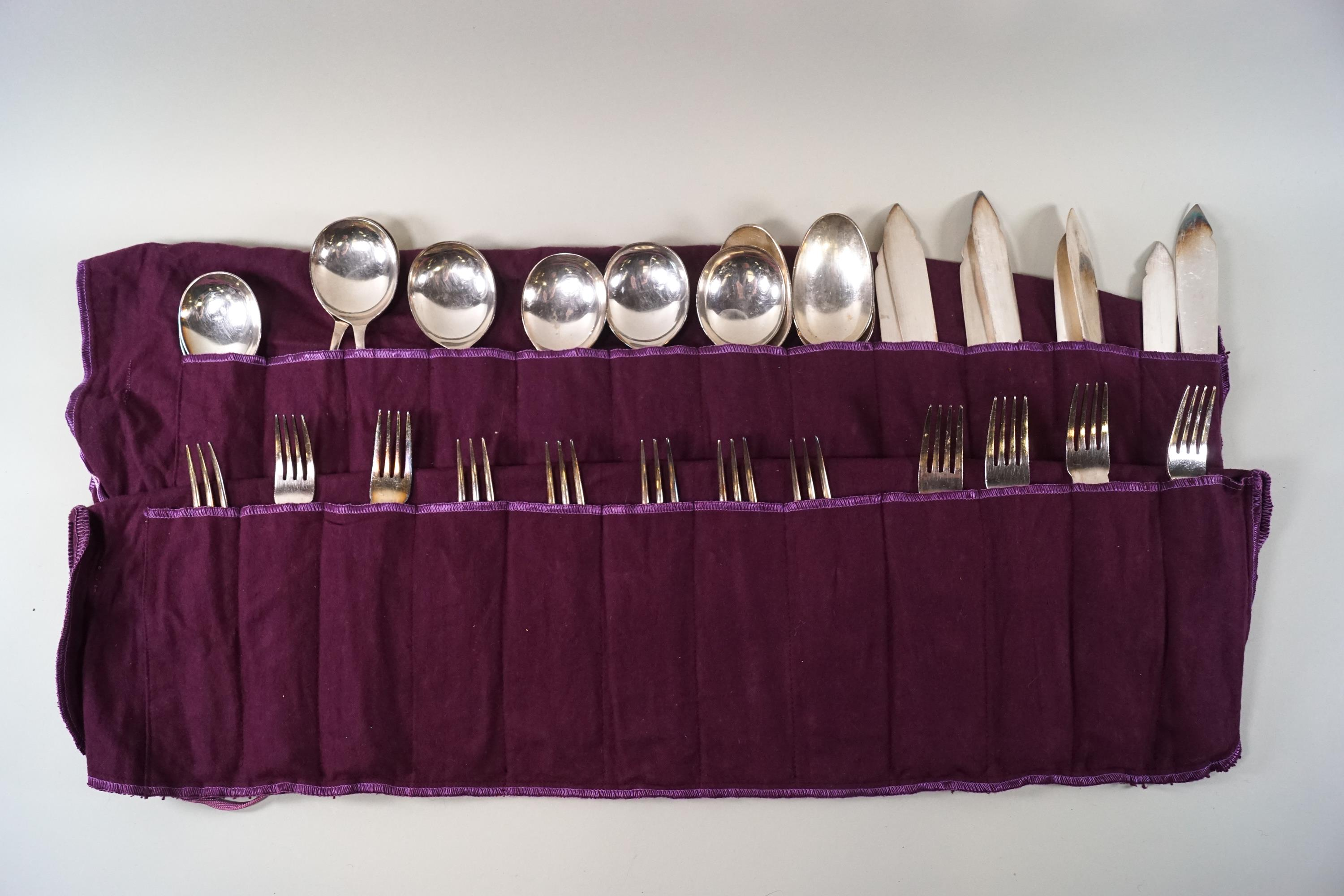 Lot 5 - A Regent and Co retailed by Garrard & Co plated set of Hanoverian Pattern cutlery,