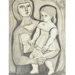 Lot 336 - Irving Amen (American, 1918 - 2011). 'Mother & Child', woodblock print, artists proof, signed and