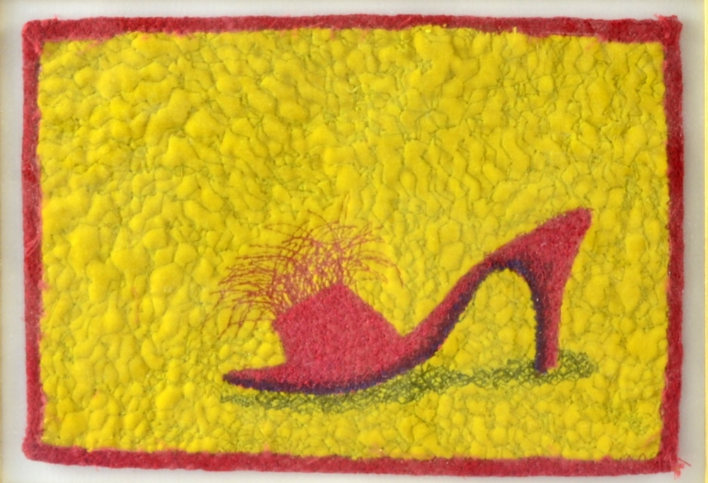 Lot 337 - Sharon Peoples (Australian) Red Shoes, two embroidered mixed media textiles each 12.5cm x 18cm,