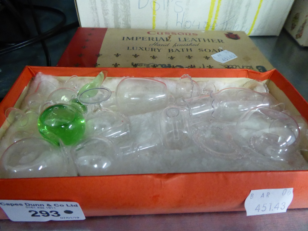 Lot 293 - A BOX OF DOLLS HOUSE GLASS ITEMS, CIRCA 1920, APPROX 21 PIECES