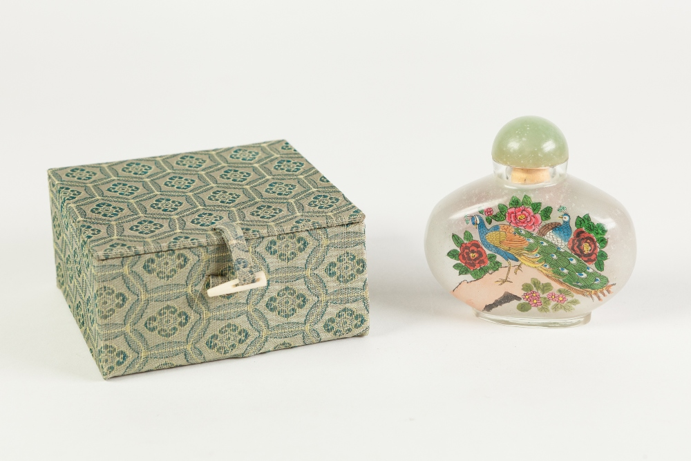 """Lot 266 - A MODERN CHINESE INTERNALLY PAINTED GLASS SNUFF BOTTLE, of large size with hardstone stopper, 3"""" ("""