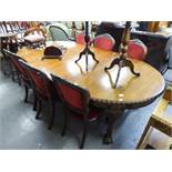 AN EDWARDIAN MAHOGANY WIND-OUT 'D' END EXTENDING DINING TABLE, WITH TWO ADDITIONAL LEAVES, ALL