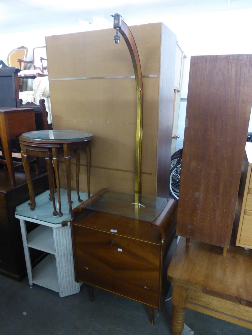 Lot 60 - A SMALL ART DECO WALNUTWOOD LOW COCKTAIL CABINET WITH FALL-FRONT AND GLASS SHELF AND A STANDARD LAMP