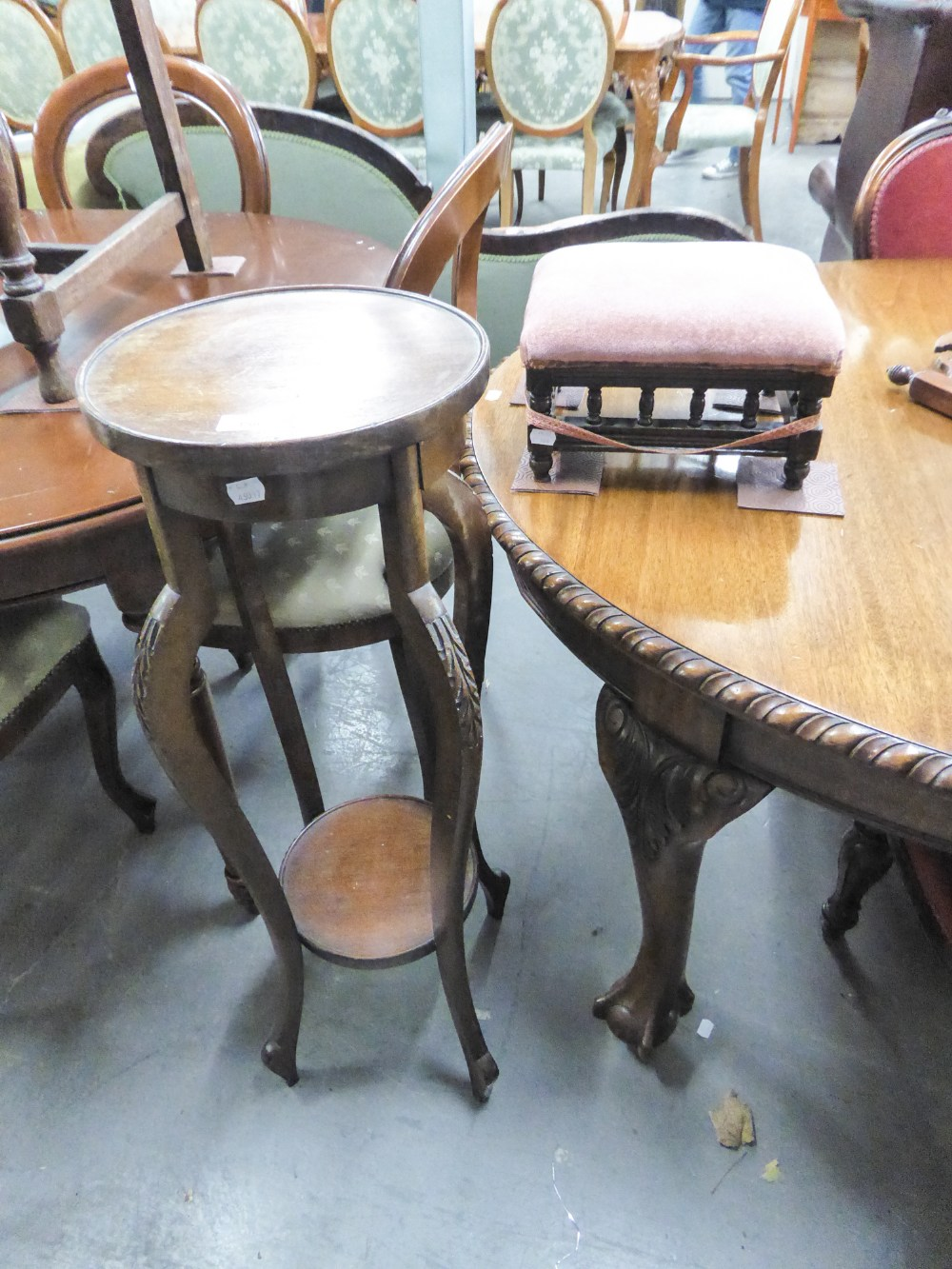 Lot 158 - TABOURET FOOTSTOOL AND A JARDINIERE STAND (2)