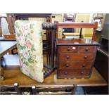 A MINIATURE CHEST OF TWO SHORT AND THREE LONG DRAWERS (LACKS BASE) AND AN OAK STOOL ON BOBBIN TURNED