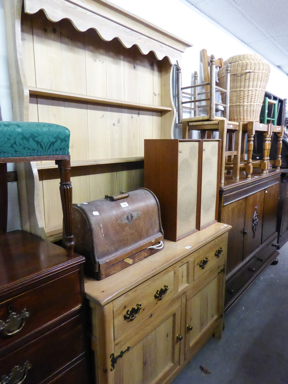 """Lot 70 - A MODERN PINE WELSH DRESSER WITH RAISED PLATE RACK, 3'9"""" WIDE"""
