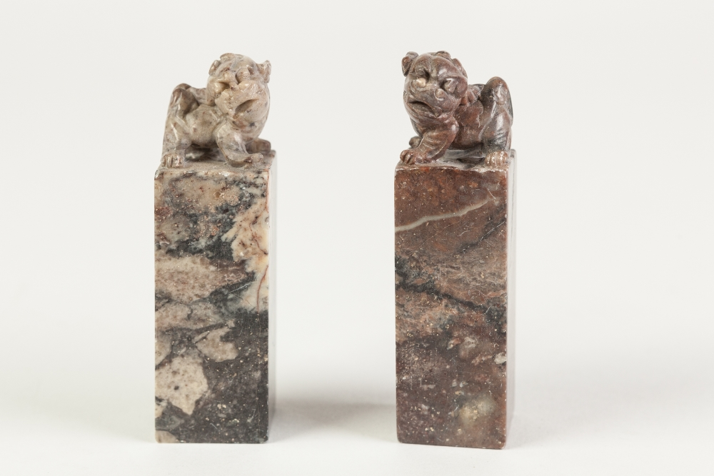Lot 264 - A NEAR PAIR OF CHINESE MOTTLED PURPLISH HARDSTONE SQUARE SEALS, surmounted with Buddhistic lions,