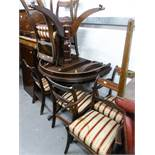 A REPRODUCTION D- END DINING TABLE AND SIX CHAIRS (INCLUDING TWO CARVERS) HAVING STRIPED SILK PAD