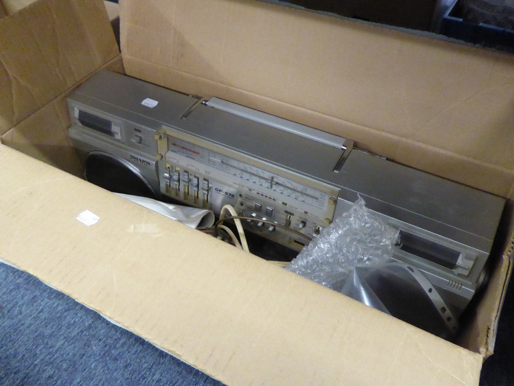Lot 469 - SHARP GF-575 'THE SEARCHER' PORTABLE DOUBLE CASSETTE STEREO TAPE RECORDER AND FM PORTABLE RADIO WITH