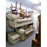 PLUMBS LOUNGE SUITE OF THREE PIECES COVERED IN CREAM AND PASTEL COLOURED STIPED FABRIC, VIZ A
