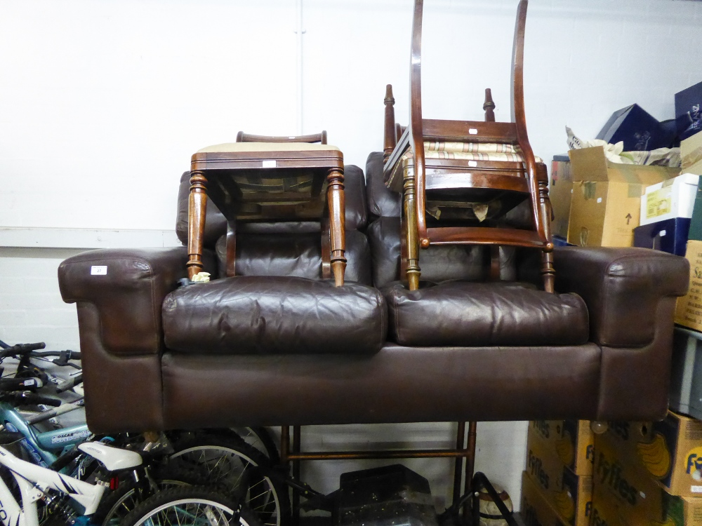Lot 27 - A BROWN LEATHER TWO SEATER SOFA
