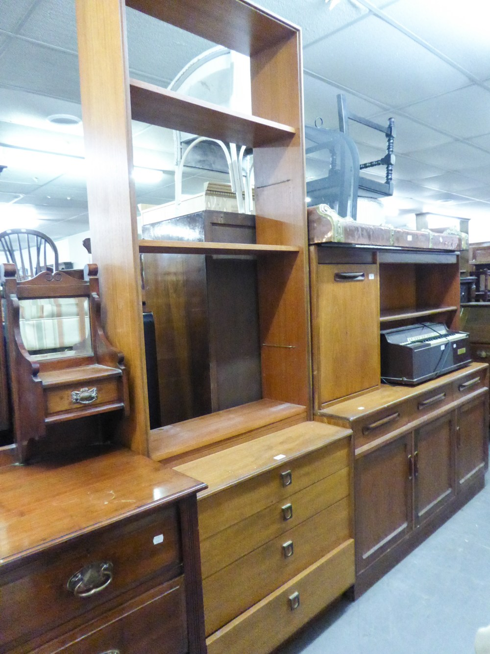Lot 57 - A MODERN TEAK CHEST OF FOUR LONG DRAWERS WITH TALL OPEN BOOKCASE SURMOUNTING