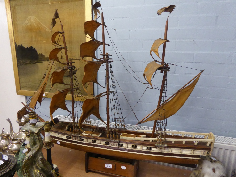 "Lot 361 - SCRATCH BUILT WOODEN MODEL OF A THREE MASTED SCHOONER SHIP WITH CLOTH SAILS, on wood stand, 38"" ("