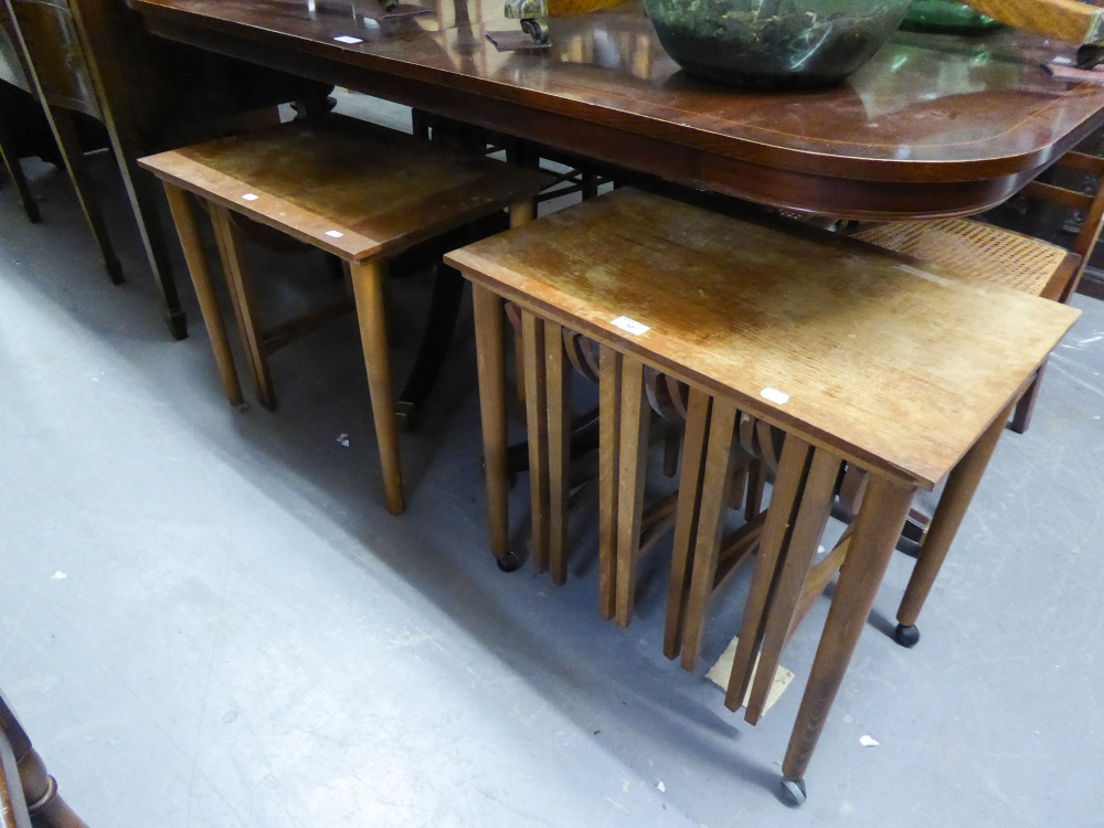 Lot 12 - A TEAK NEST OF TABLES, FOUR FOLD AWAY AND ANOTHER (LACKING THREE FOLD AWAY)