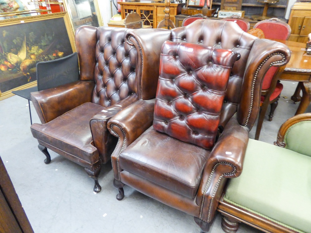 Lot 2 - TWO OF BUTTON BACK FIRESIDE ARMCHAIRS, BROWN HIDE UPHOLSTERY WITH STUD DETAIL, RAISED ON CABRIOLE