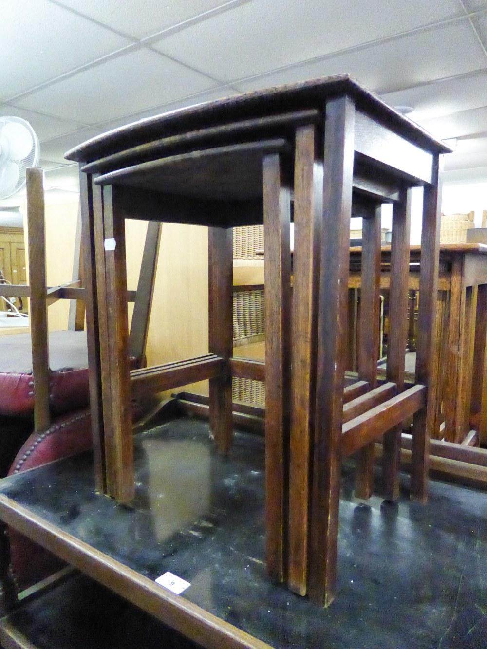 Lot 13 - TWO MID TWENTIETH CENTURY OAK NESTS OF TABLES