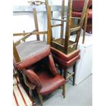 EIGHT MODERN DINING CHAIRS HAVING RED HIDE PAD BACK AND SEAT, WITH STUD DETAIL AND TWO MATCHING