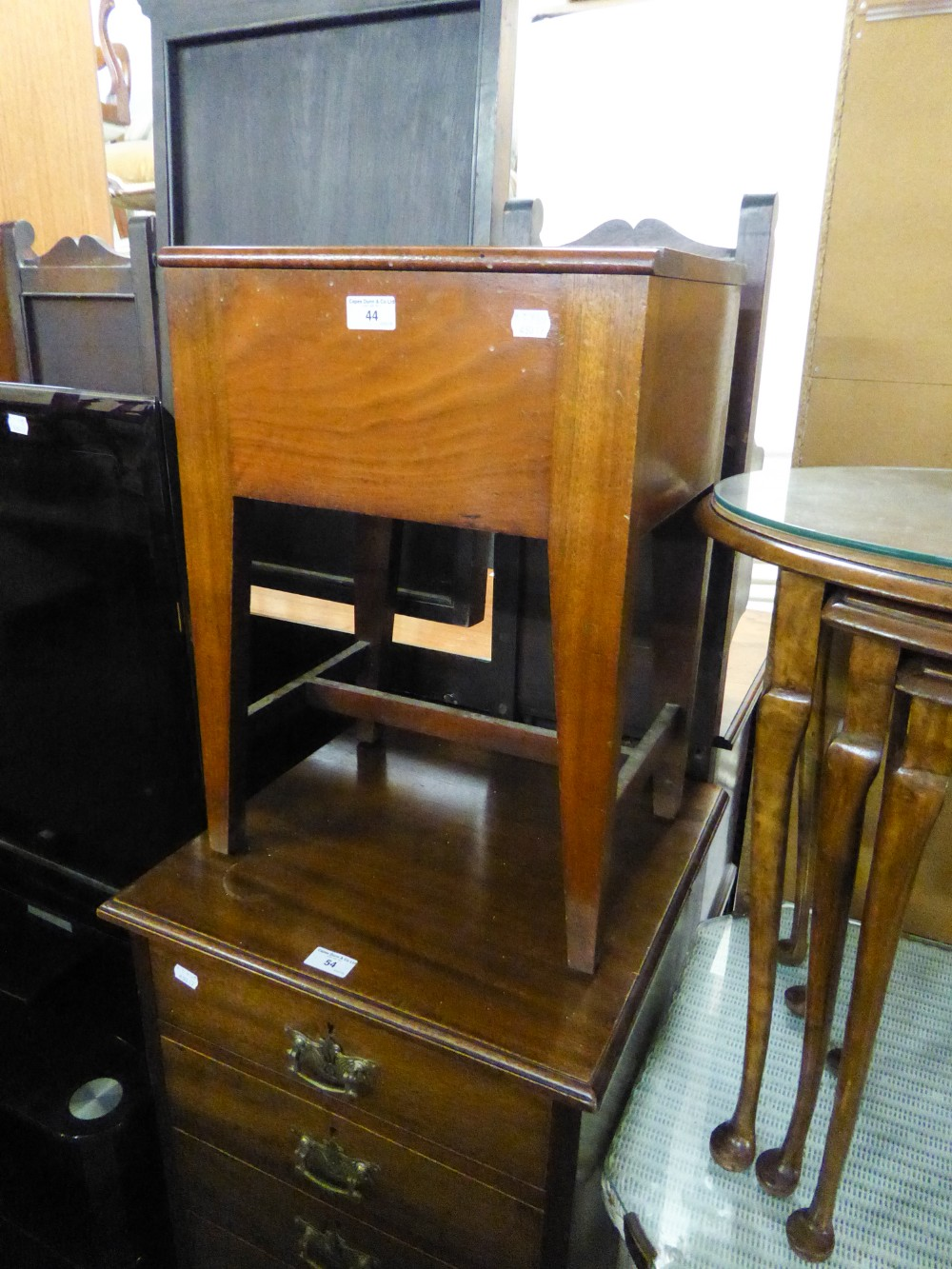 Lot 44 - A MAHOGANY PIANO STOOL WITH BOX SEAT, ON SQUARE TAPERING LEGS