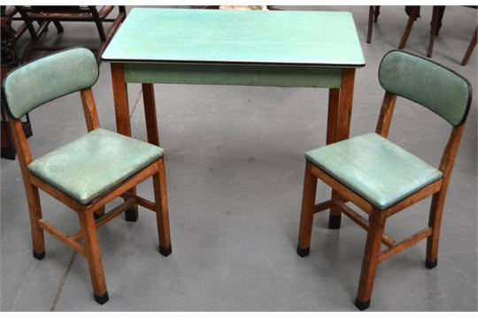 A Retro 1940s 1950s Kitchen Table And Two Chairs By Cantel With Rectangular Top Tapering