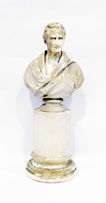 Lot 48 - Parianware bustof Psyche, 17cm high and moulded plaster bust of a gentleman, on pedestal base, 45cm