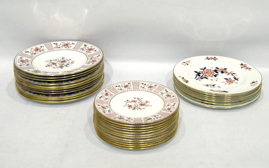 Lot 3 - Set of 12 Royal Crown Derby 'Lucienne' pattern dinner and side plates and a set of seven Crown