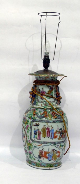 Lot 9 - 19th century Chinese Canton porcelain famille rose vase converted to table lamp, baluster-shaped