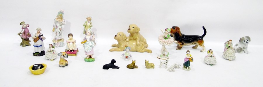 Lot 37 - Assorted decorative ceramic items to include figurines of dogs and continental porcelain figurines