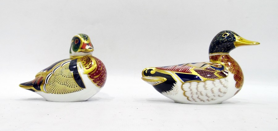 Lot 46 - Royal Crown Derby porcelain 'Carolina' duck paperweight with button to base and a Royal Crown