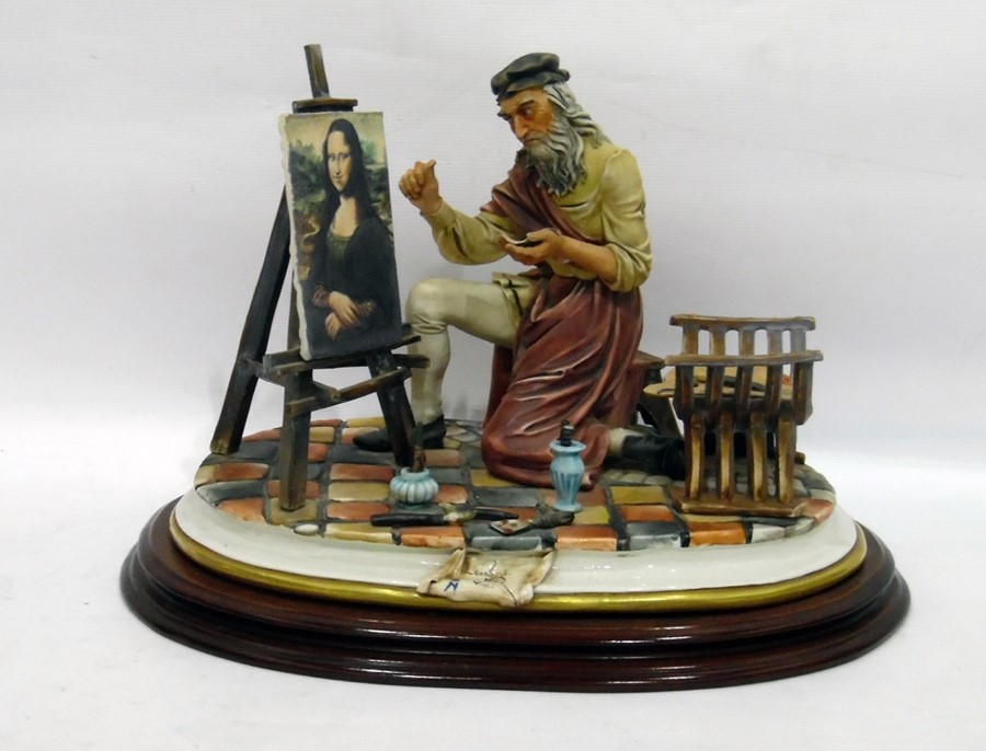 Lot 15 - Capodimonte 'Leonardo Da Vinci' porcelain figure of painter painting the Mona Lisa, in artist's
