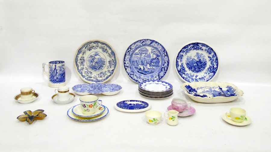 Lot 31 - Assorted china wares to include 19th century blue and white transfer-decorated mug, decorated with