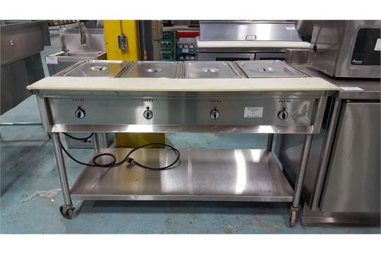 Quest Well Steam Table On Casters - 4 well gas steam table