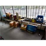 (2) Tables & Contents, Casters, Hole Punches, Staplers, Tape Dispensers,etc.