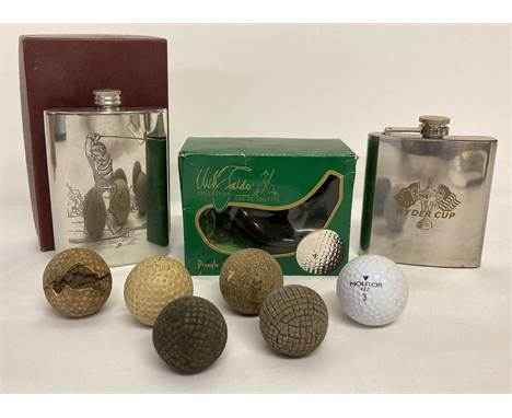 A small collection of golf related items. Comprising: a Ryder Cup hip flask, a hip flask engraved with a golfer, a boxed bott
