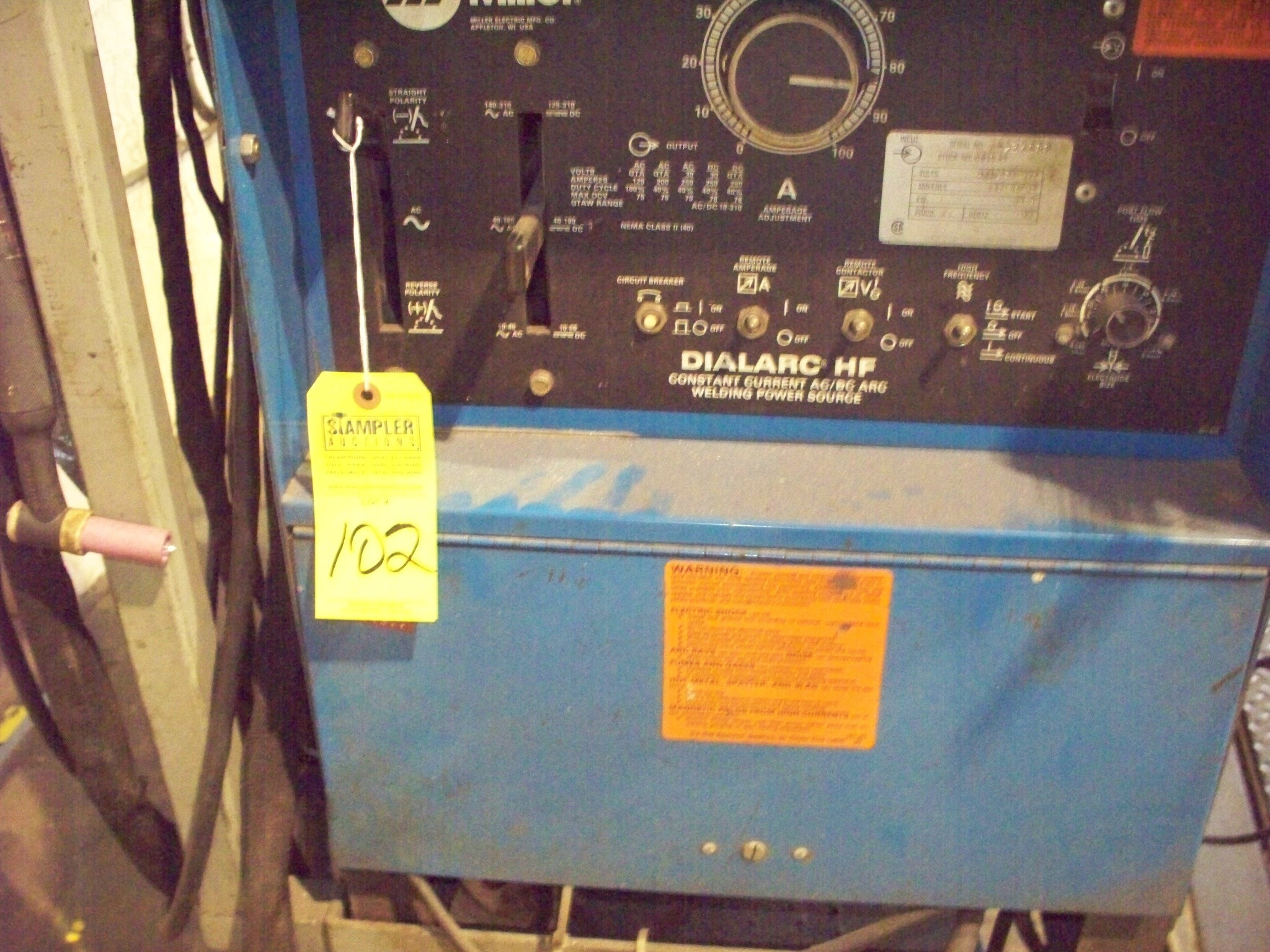Lot 102 - MILLER DIALARC HF WELDER WITH MILLER RADIATOR 1 COOLING SYSTEM &  CART