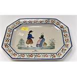 A 19th Century long octagonal platter by HB Quimper,