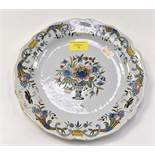 An early period HB Grande Maison floral painted plate with first HB mark to base, measures 24.