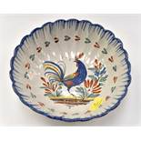 A 19th Century Nevers Faience scalloped edge bowl, with cockerel to centre, 24 cms diameter,