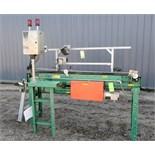 "Roach motorized rubber belt conveyor, approximatley 8"" wide x 6' long, with (2) Accu-Sort Adapta"