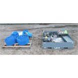 Conveyor parts lot consisting of; various sized plastic belts, motors, drives, and on/off