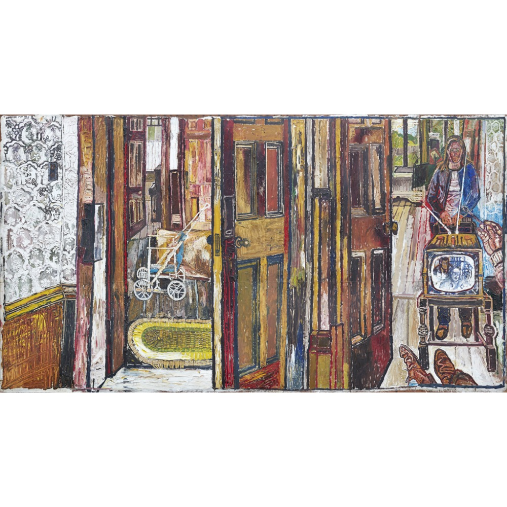 Lot 53 - [§] JOHN BRATBY R.A. (BRITISH 1928-1992) WATCHING TV Signed and dated 'May '58', oil on canvas 203cm