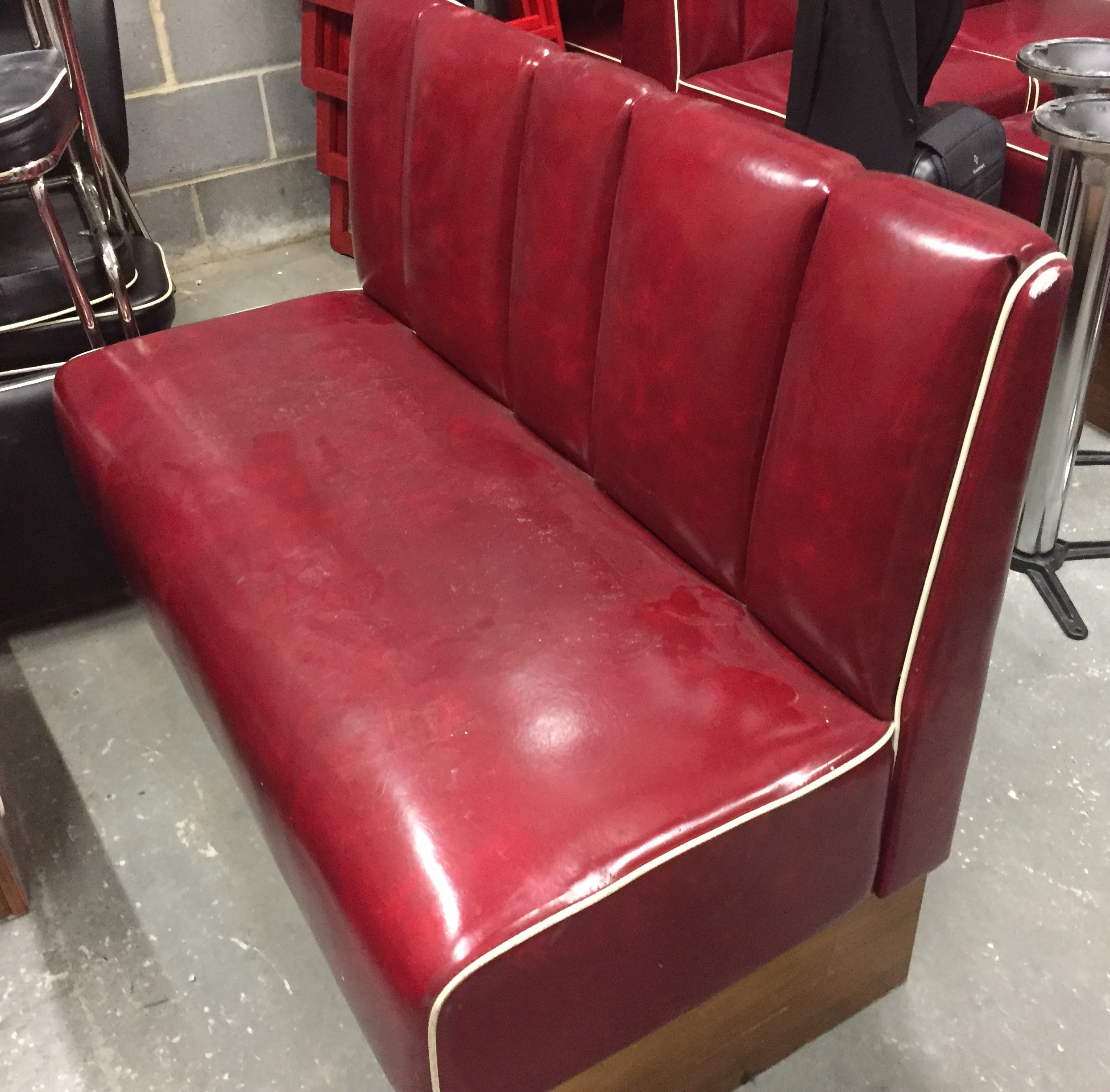 1 X Retro 1950 39 S Style American Diner Restaurant Seating Bench Red Leather Seating With Cream E