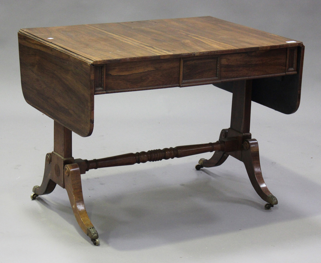 A Regency rosewood sofa table the hinged top above two  : original from www.the-saleroom.com size 1100 x 901 jpeg 261kB