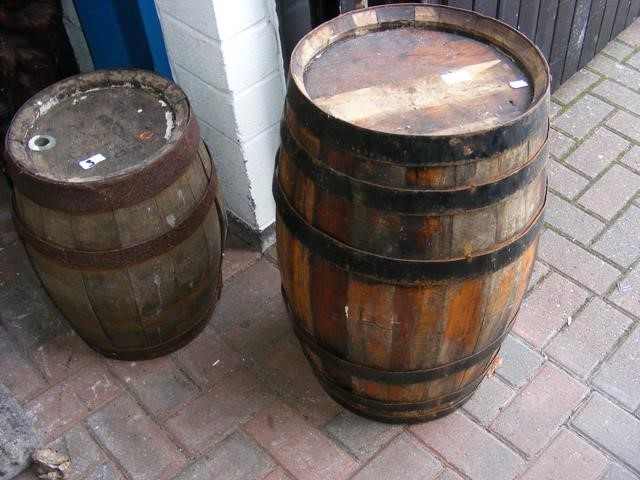 Lot 3 - Metal bound barrel and a smaller ditto