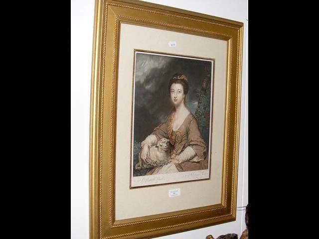Lot 45 - Antique coloured engraving - portrait of
