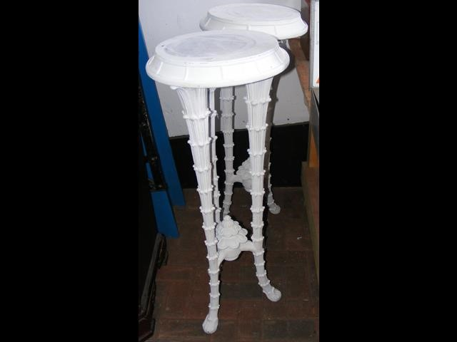 Lot 14 - A pair of white painted plant stands