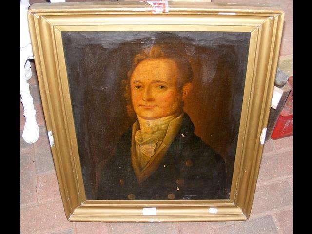 Lot 15 - Antique oil on canvas portrait of gentleman - 52cm