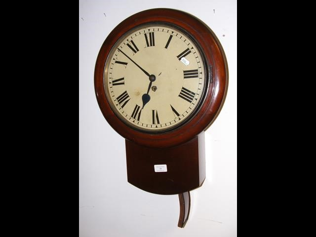 Lot 34 - A 19th century drop dial wall clock with fusee mov