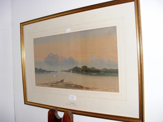 """Lot 44 - EDWIN EARP - watercolour of """"Ulleswater"""" - 26cm x 48"""